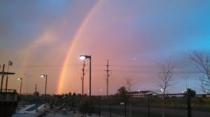 Apparently there's been over 12 deaths from lightning strikes in the last week. This is a sweet reminder of God's promises-- the brightest double rainbow I've ever seen!
