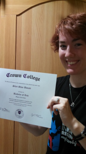 It's official!! I'm a graduate from Crown College! :D