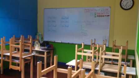 A rare glimpse of my new classroom: small and hot. 14 students, me, and at least one co-teacher :)