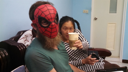 Miki and Caleb Bennet: the first month I lived in Taiwan (last July/Aug) I lived at their house. For the last 7 months or so I've been going to a Bible study at their house-- so much fun! This picture adequately introduces them: Caleb (Spiderman with a beard) is a funky, loving guy with a lot of humor, and Miki is like that too... + coffee :)