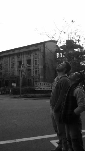 Michael Gerber and Jae (a Taiwanese guy) enjoy the fresh air