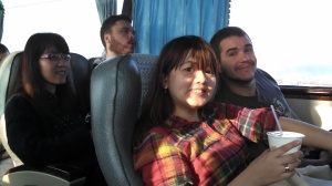 Buses are the way to travel if you want to go long-distance for cheap. Here's Alexa, Lucas, and Michael as the worship team returned from our retreat.