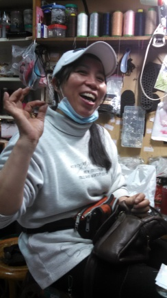 Chen Jie-- My friend from NeiJiang Street. She fixes shoes and talks to me in Chinese (doesn't know any English). She's like my Taiwanese mom :)
