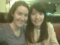 Sandra and I at a Japanese restaurant last night, sharing about what God is doing in our lives