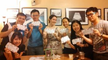 My team won first place in the competition and here we are proudly sporting our gift certificates for a free muffin and drink :)